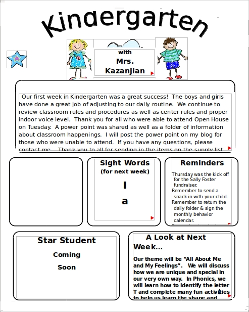 9 Kindergarten Newsletter Templates Free Sample Example Format – Example of Newsletter Templates