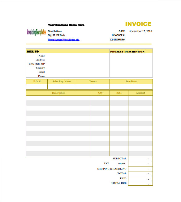 Billing Invoice Template Download | Invoice Template 2017