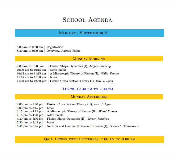 Sample School Agenda 8 Documents in PDF Word – Agenda Layout Template