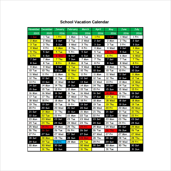 Sample Vacation Calendar Vacation Billing Calendar Vacation