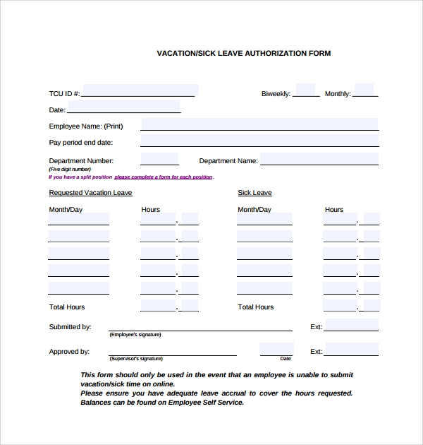 Sample Leave Authorization Form 5 Free Documents in PDF – Leave Form Templates