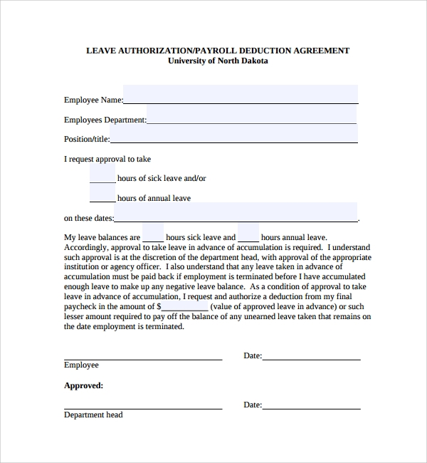 Leave Of Absence Request Form 12 Sample Leave Request Form Free – Sample of Leave Application