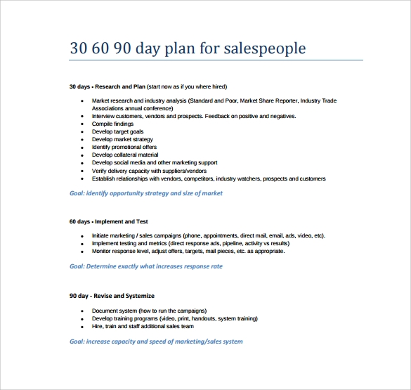 Printable 30 60 90 Day Action Plan Template