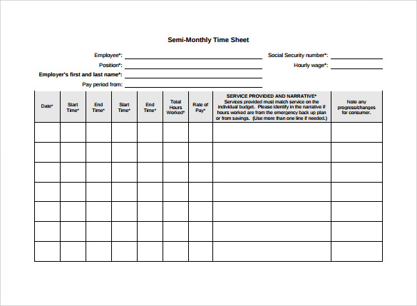 Monthly Timesheet Template 22 Download Free Documents