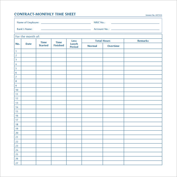 contract monthly timesheet template