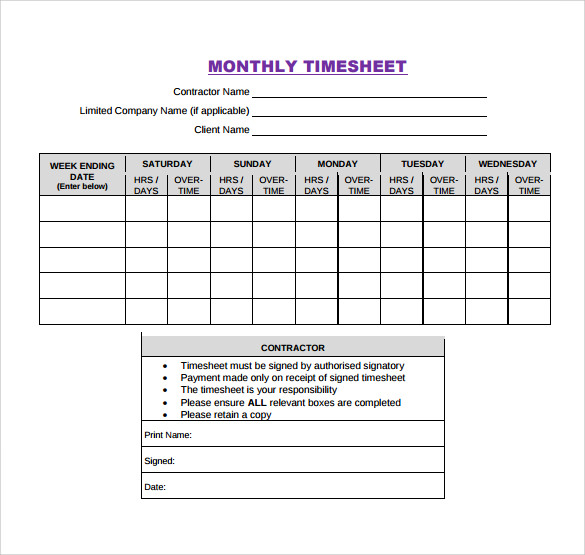 Monthly Timesheet Template Word  LondaBritishcollegeCo