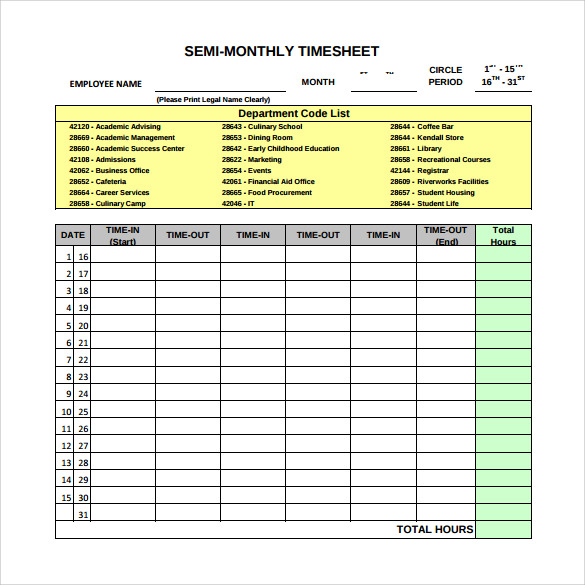 22 sample monthly timesheet templates to download for free sample semi monthly timesheet template friedricerecipe Image collections