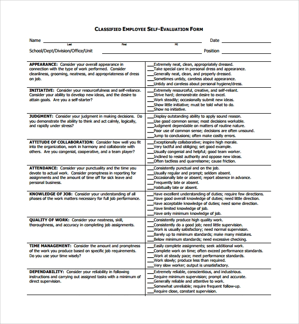 Self Evaluations Self Assessment Form For Appraisal  Sample