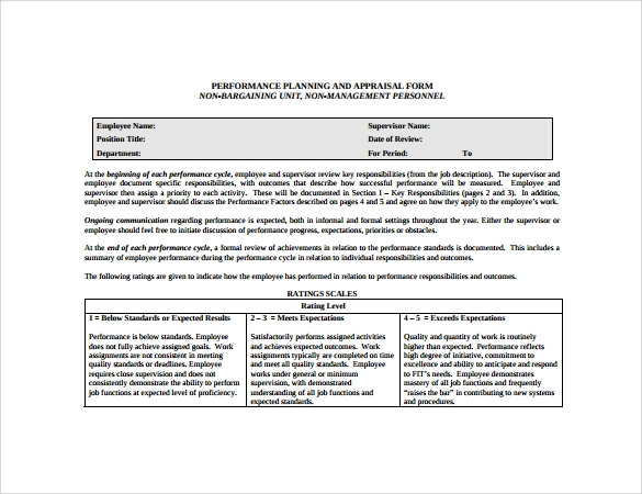 Sample Employee Performance Appraisal Form 5 Free Documents in PDF – Appraisal Document Template