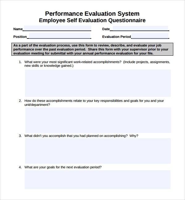 Sample Employee Evaluation Form - 5+ Free Documents In Pdf