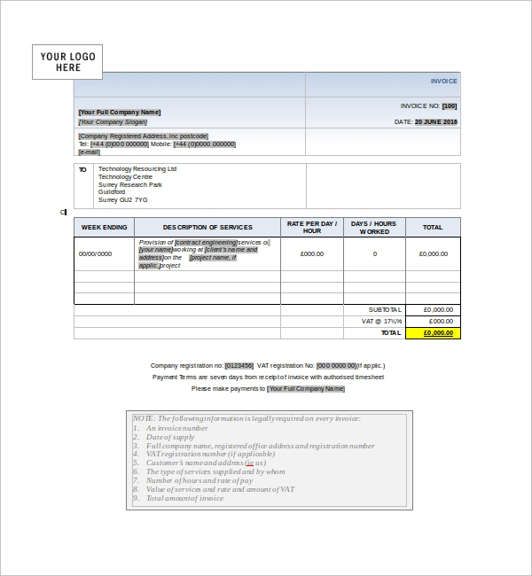 Sample service receipt template 9 free documents in pdf word example for service template saigontimesfo