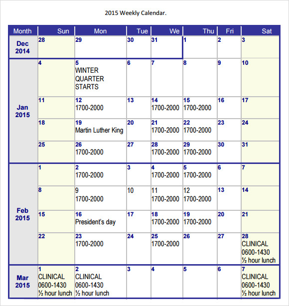 2015 weekly calender