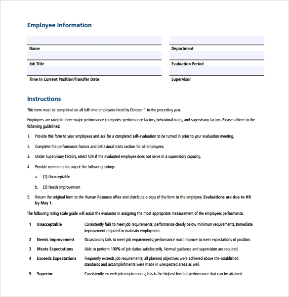 free 5  employee evaluation forms in pdf