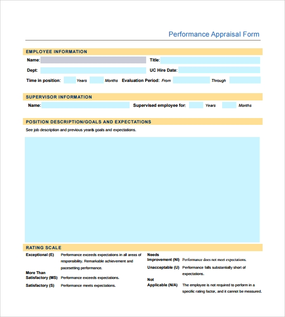 Sample Employee Performance Appraisal Form   Free Documents In Pdf