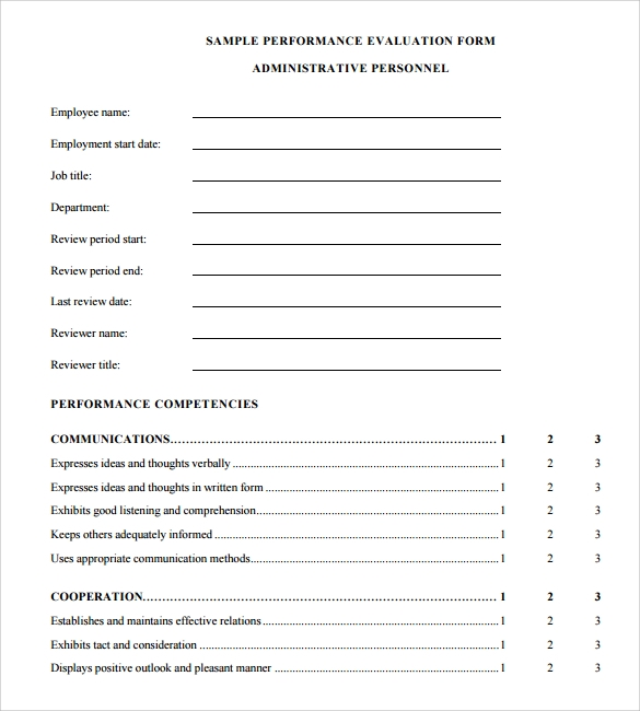 Performance Appraisal Form Download