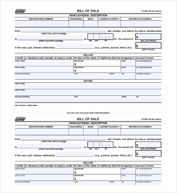 Sample Car Bill Of Sale Form