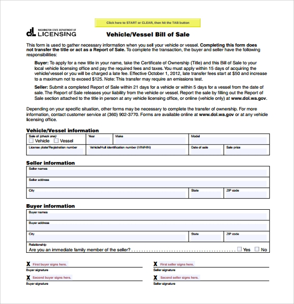 Sample Car Bill Of Sale Form   Free Documents In Pdf Word