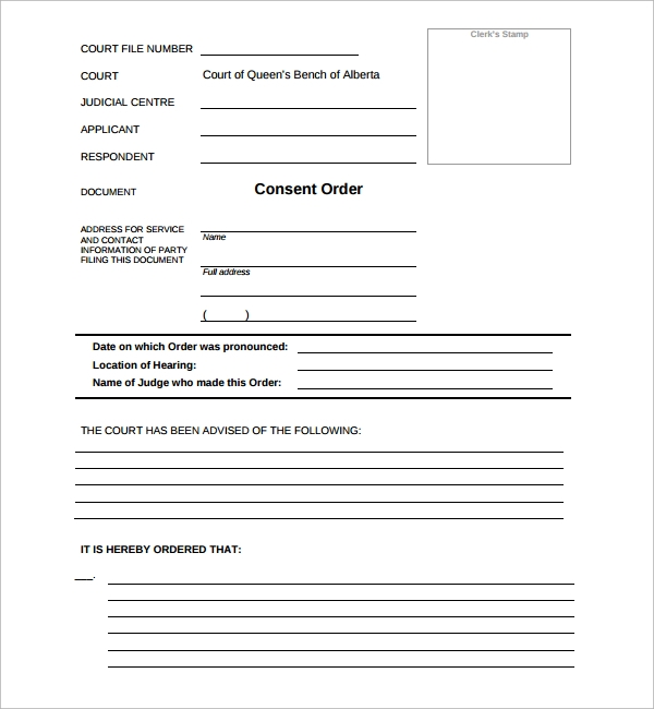 Sample Consent Order Form   Free Documents In Pdf Word