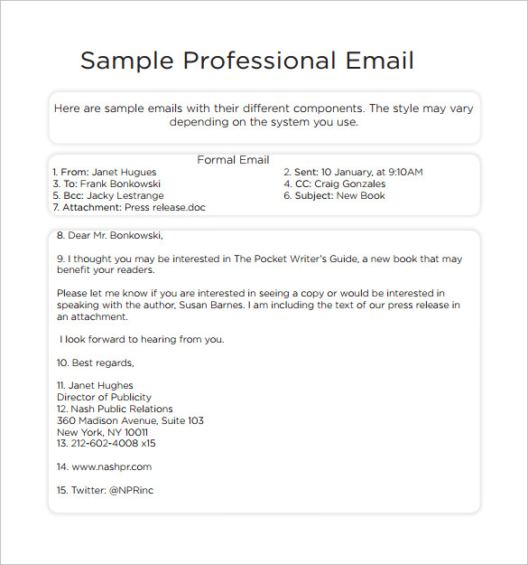 Professional Email Template 7 Download Free Documents in PDF – Sample Business Email