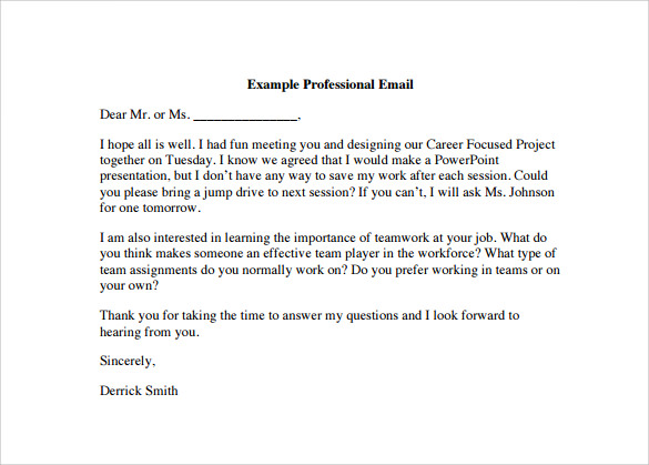 Professional Email Template   Download Free Documents In Pdf