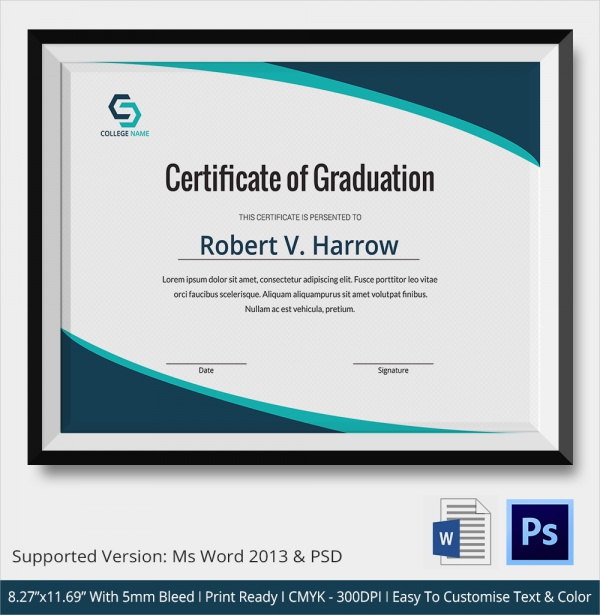 certificate templates for word - 20 graduation certificates sample templates