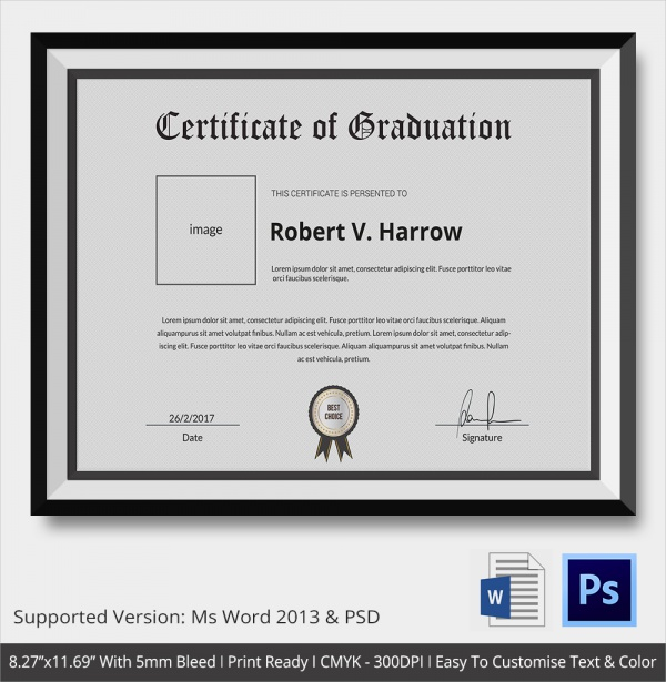 20 Graduation Certificates PSD Word – Sample Graduation Certificate