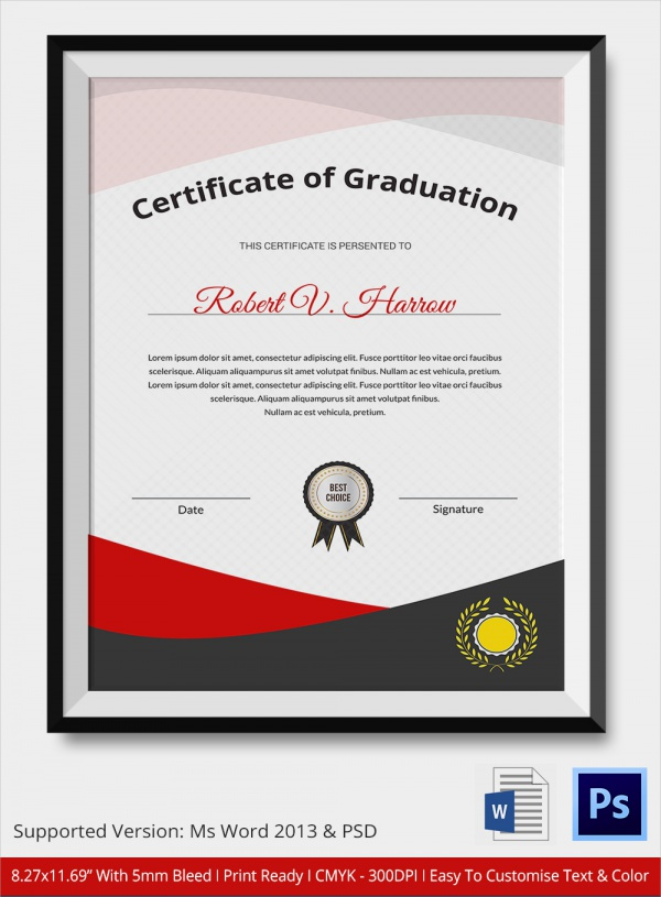 20 Graduation Certificates PSD Word – Graduation Certificate Wording