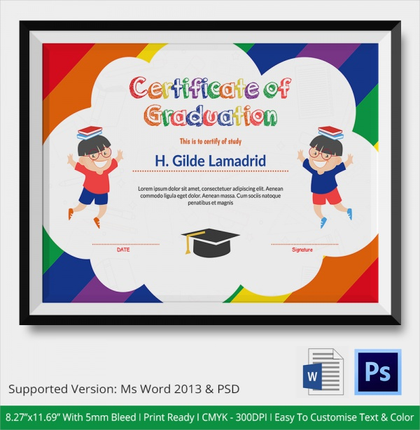 20 graduation certificates psd word sample kids graduation of certificate yadclub Choice Image