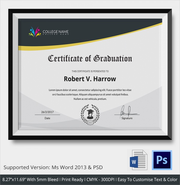 universal college graduation certificate