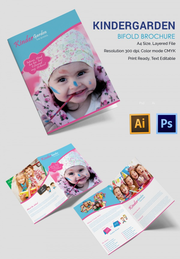 Adorable Kindergarten School A3 Trifold Brochure Download