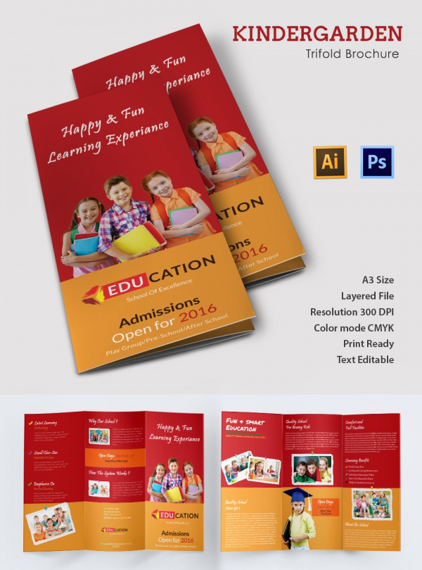 School brochure 22 download in psd vector pdf for Preschool brochure template