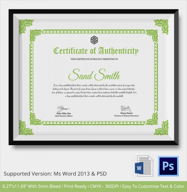 Sample certificate of authenticity template 29 for Certificates of authenticity templates