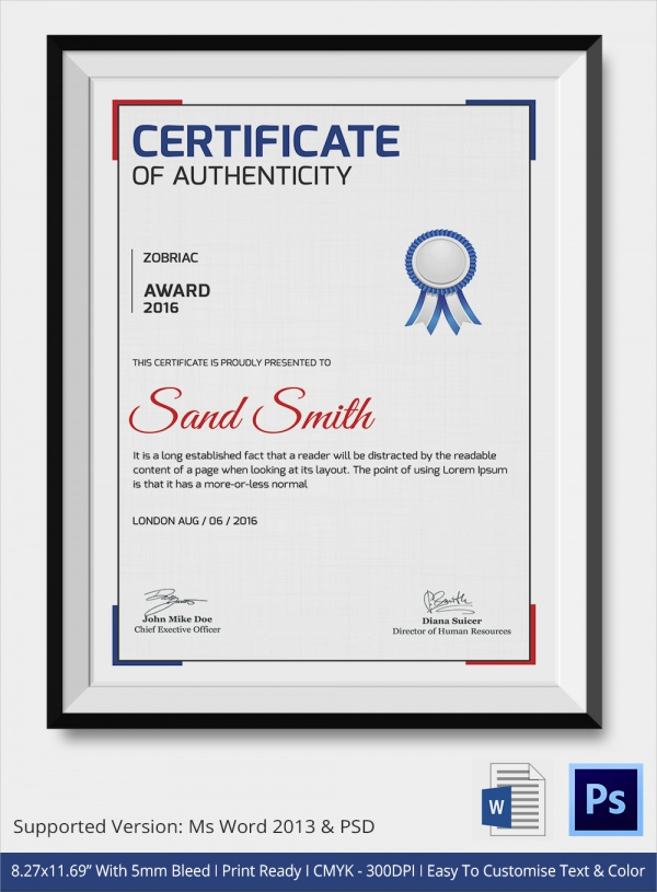award certificate of authenticity template
