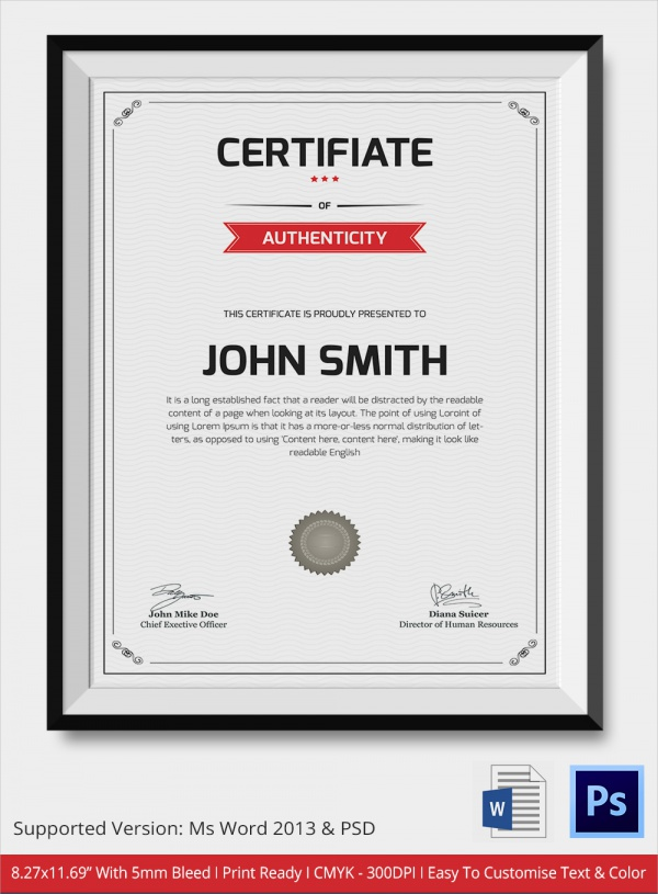 amazing certificate of authenticity template