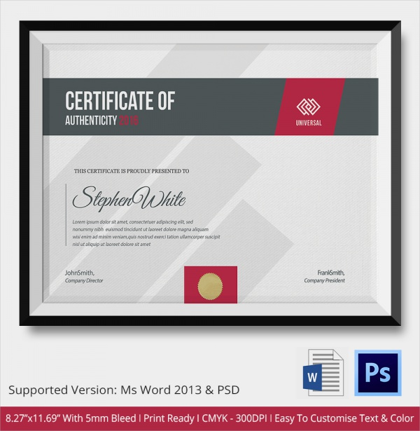 universal certificate of authenticity