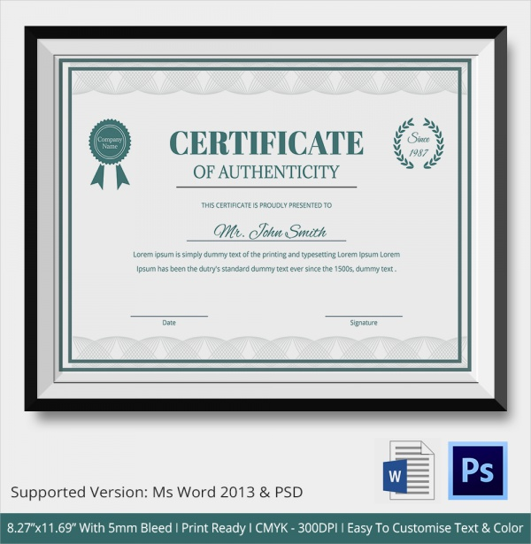 Sample Certificate Of Authenticity Template 36 Documents In Pdf