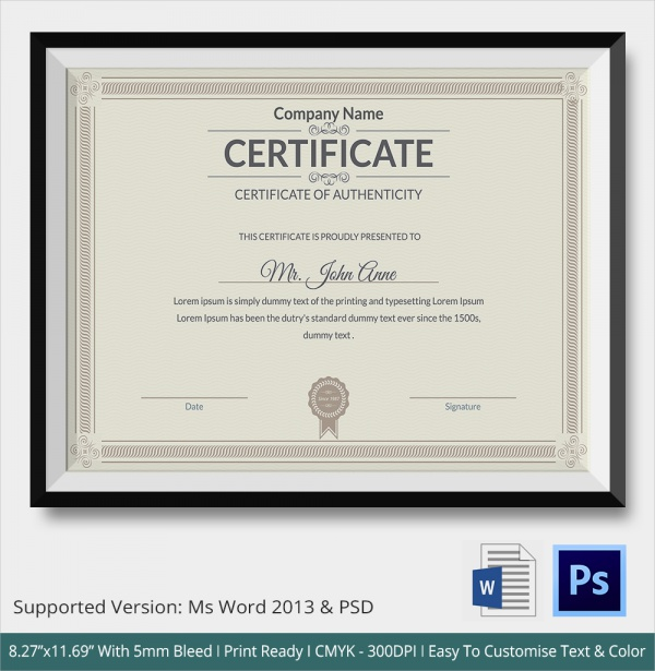 picture regarding Printable Certificate of Authenticity identified as 45+ Pattern Certification of Authenticity Templates within just PDF
