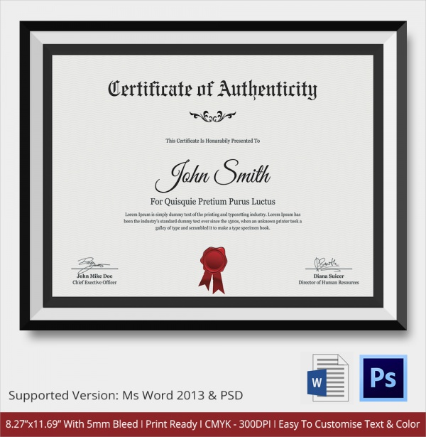 36 sample certificate of authenticity templates sample templates employee authenticity certificate template yelopaper