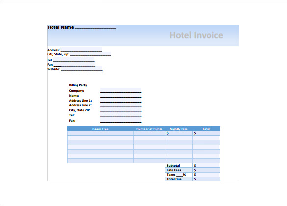Hotel Bill Format Blank. Blank Mobile Bill Format In Word