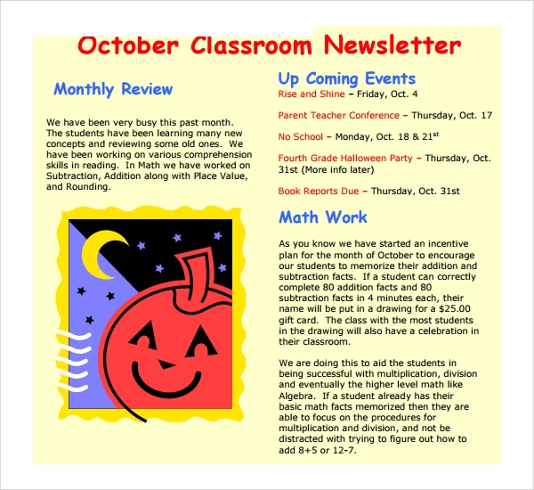 basic classroom newsletter