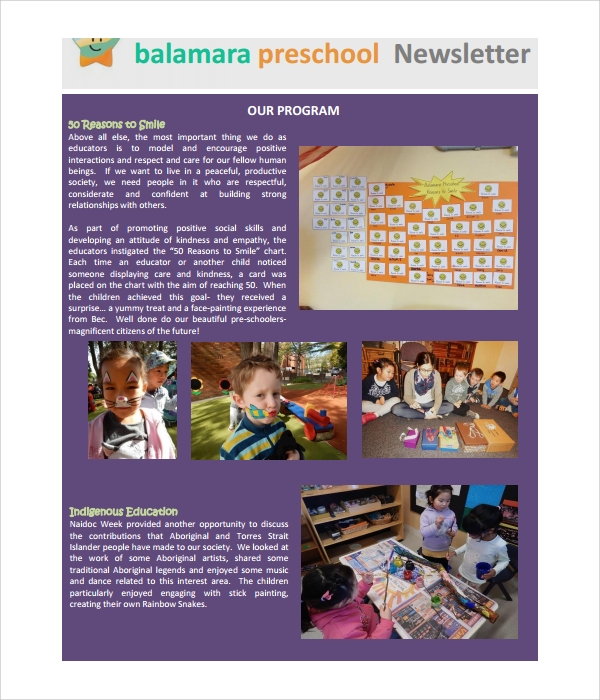 basic preschool newsletter