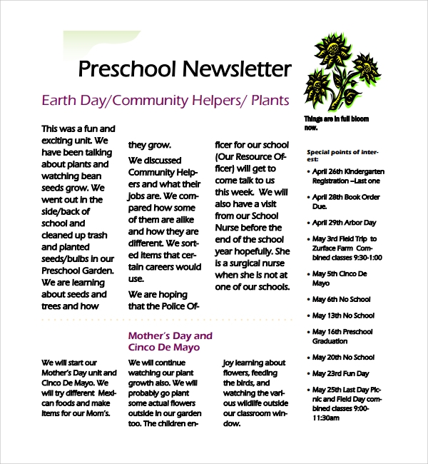 simple preschool newsletter
