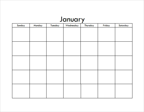 Blank Calendar Template   Download Free Docements In Pdf