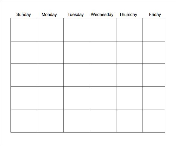 Blank Calendar Template – Printable Editable Blank