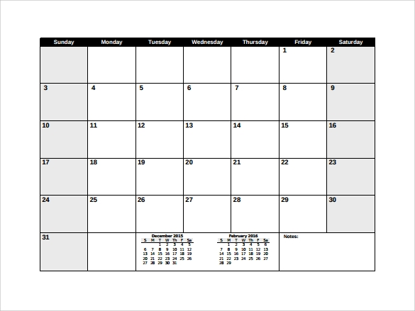 sample pdf blank calendar template