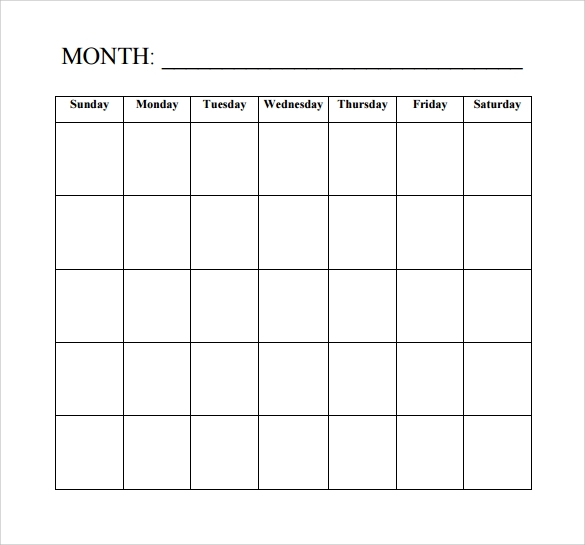 Blank Calendar Template - 15+ Download Free Docements in PDF