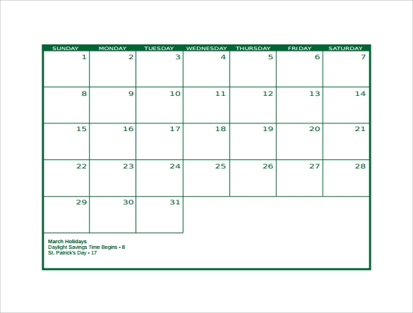Blank Calendar Template 15 Download Free Docements in PDF – Sample Blank Calendar