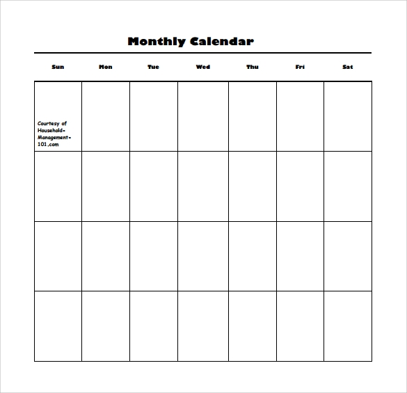 Sample Monthly Calendar : Sample blank calendar templates to download