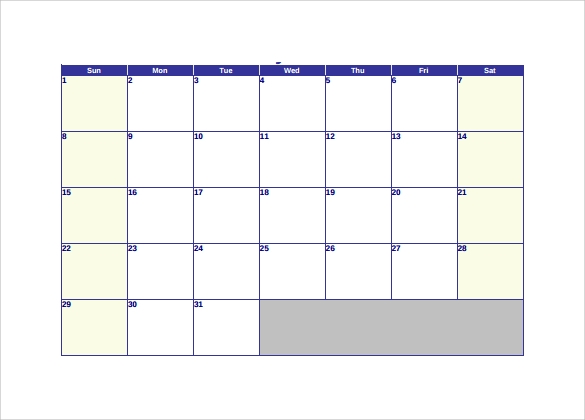 example of blank calendar template