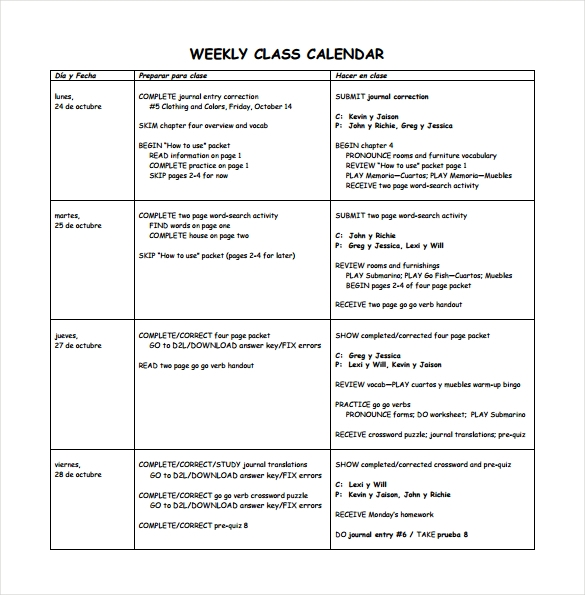 free 20  sample weekly calendars in google docs